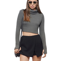Ribbed Roll Neck Cropped Sweater