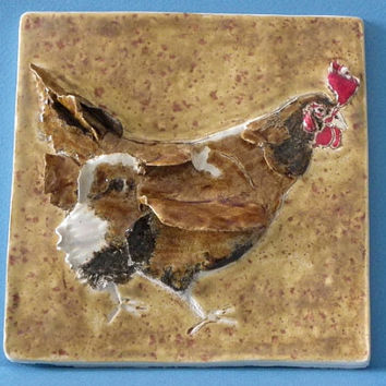 Farmyard Chook, Chicken Tile - Stunning Individually Hand Crafted Glazed Earthenware by Joanna Allsop