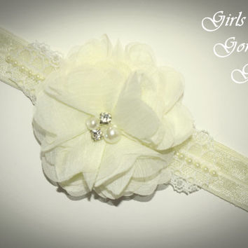 Ivory baby headband , fancy headband baby , pale yellow headband , chiffon flower , pearl lace rhinestone , satin headband toddler headband