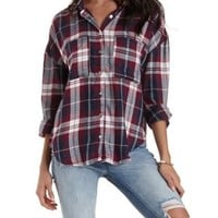 Navy Combo Button-Up Plaid Tunic Top by Charlotte Russe