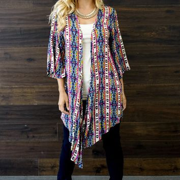 Magenta-Multi-Color-Printed-Long-Cardigan