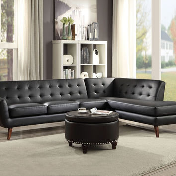 Acme 53040 2 pc Essick II black faux leather sectional sofa with tufted back