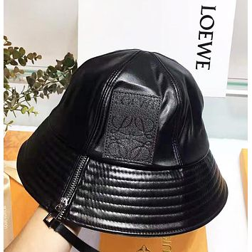 LOEWE Fashion New Leather Women Men Fisherman Hat Cap Black