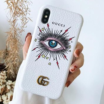 GUCCI New Popular Women Men Personality Leather Blue Eye Pattern Mobile Phone Cover Case For iphone 6 6s 6plus 6s-plus 7 7plus iPhone8 iPhone X White I13652-1