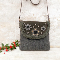 Grey wool leather bag, sheepskin leather crossbody, winter purse