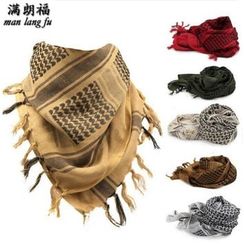 100% Cotton Muslim Hijab Arabic Scarves Thick Shemagh Tactical Desert Scarf Men Women shawl Windy Military Windproof Scarf