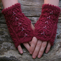 Bordeaux knit lace wrist warmers. Fingerless wool gloves. Elegant accessories for women