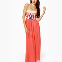 Lovely Coral Red Dress - Maxi Dress - Strapless Dress - $78.00