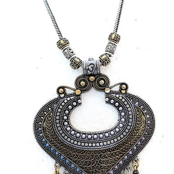 Dual tone oxidized Pendant Necklace with bead hanging - Medium Length