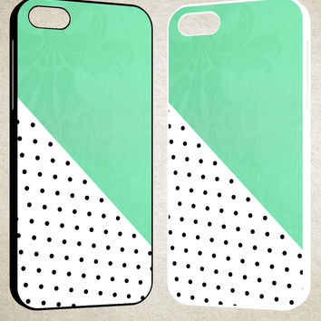 Polkadot mint green F0578 iPhone 4S 5S 5C 6 6Plus, iPod 4 5, LG G2 G3, Sony Z2 Case