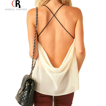 Women Sleeveless Backless Spaghetti Strap Cross Back Chiffon Sexy Loose Casual Top Vest Camis Blouse  Summer New Fashion