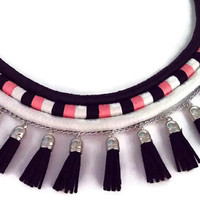 Tribal necklace/wrapped rope necklace/african necklace/handmade/bohemian necklace/ethnic necklace/black/white/light pink/jewelry
