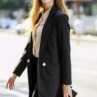 Black Boyfriend Lapel Long Blazer