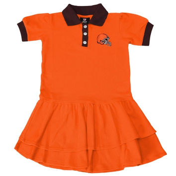 Cleveland Browns Girls Infant Preppy Fan Polo Dress - Orange