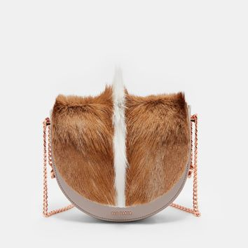Taupe Exotic Trim Leather Moon Shaped Bag
