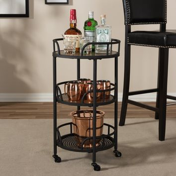 Baxton Studio Bristol Rustic Industrial Style Metal and Wood Mobile Serving Cart Set of 1