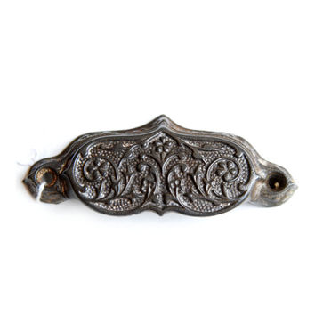 FREE SHIPPING Vintage Antique Ornate Bin Pull, Cast Iron, Victorian E1054