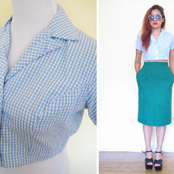 Vintage 60's gingham baby blue pastel button down skirt cropped blouse