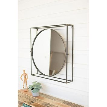 Round Mirror In A Square Metal Frame