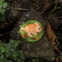 Sleeping Bunny Miniature, Needle Felted Bunny, Needle Felted Rabbit, Cute Bunny, Baby Bunny, Felt Animal, Easter Gift, Easter Decor