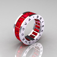 Mens Modern 14K White Gold Fire Rubies Channel Cluster Infinity Wedding Band R174-14KWGFR