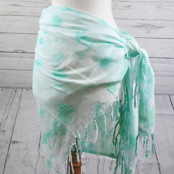 Stonewash Mint Green Ombre Organic Sarong | Pareo | Scarf