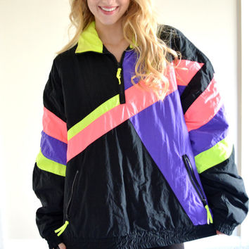 Vintage Dual Control Neon Windbreaker Black Retro Nylon Ski Snow Jacket Puffy Outerwear Large L Funky Neon Snow Jacket Geometric Color Block