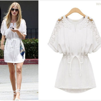women summer casual cotton dress sexy white lace dresses new 2014 fashion brand plus size women clothing 5xl 4xl xxxl xxl = 1958372420
