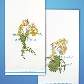 "Mermaid Tobin Stamped For Embroidery Kitchen Towels 18""X28"" 2/Pkg"