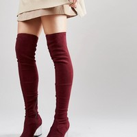 ASOS KENTUCKY Clear Heel Over The Knee Sock Boots at asos.com