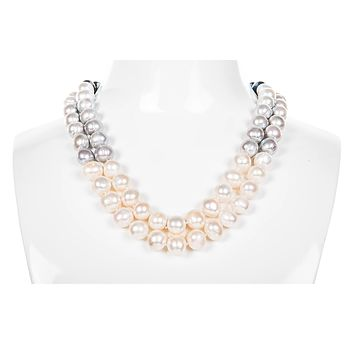 Multi-Color Double Strand Layer Freshwater Pearl Necklace 10mm