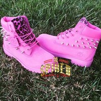 Custom HOT Pink Timberlands BIG Kids & Women ONLY ) see other listing for small kids