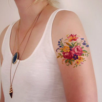 Floral temporary tattoo / Colorful temporary tattoo / vintage temporary tattoo / flower temporary tattoo / bohemian temporary tattoo / boho