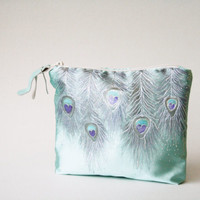 Mint Clutch Purse, Peacock Purse, Peacock Clutch, Hand Painted Clutch Purse