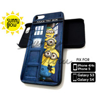 Minion In Tardis Dr Who Door - iPhone 4/4s and 5 Case - Samsung Galaxy S3 and S4 Case - Black or White