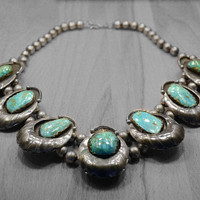 Vintage Blue Turquoise Statement Necklace in 925 Sterling Silver, Vintage Native American Handmade Bib Necklace, Large Necklace