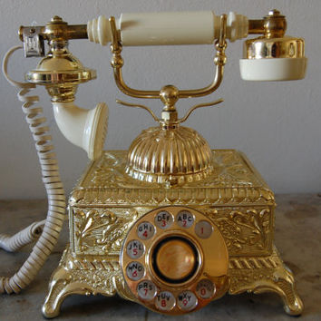 Vintage Cream and Gold Rotary Telephone Working