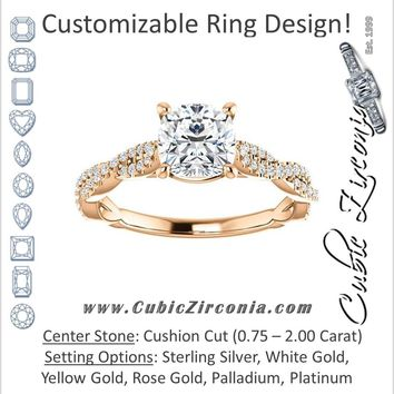 Cubic Zirconia Engagement Ring- The Alelli (Customizable Cushion Cut Style with Thin and Twisted Micropavé Split Band)