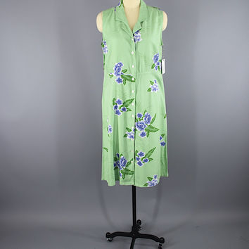 Vintage 1990s Maxi Hawaiian Dress / Green Floral Print