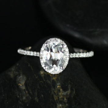 NEW Rebecca 14kt White Gold Round White Topaz Oval and Diamond Halo Engagement Ring (Other metals and stone options available)