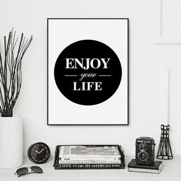 Art unframe drawing core custom  Scandinavian simple black and white enjoy your life  decorative painting hangs a picture poster