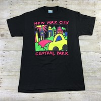 Vintage 90s New York City Central Park Neon Print T-Shirt Made in USA Mens Size Medium