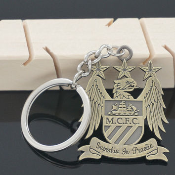 Manchester City Metal Logo Keyring Keychain Gift Football Soccer EPL MCFC