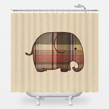 Plaid Elephant Shower Curtain