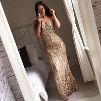 Sexy Gold Shiny Sequin Maxi Party Dress Off Shoulder Long Lining Low Cut Floor Length Backless Retro Evening Gown Blue Dress