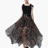 Floral Print High-Waisted Asymmetrical Maxi Skirt