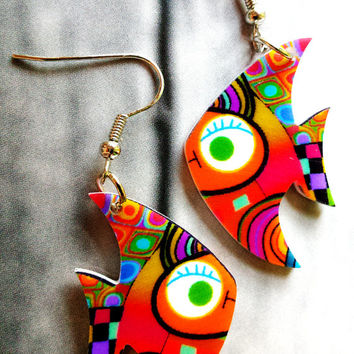Golden fish earrings,animal earrings,kid earrings,dangle earrings,gift for teen girls, little girl jewelry,funky,cute,funny,small, birthday