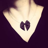 Bow Necklace - Black Ribbon on Silver Chain - Bow Tie Necklace - Ribbon Necklace
