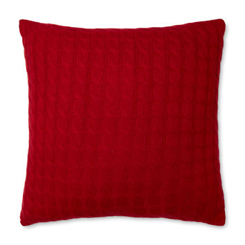 Sofia Cashmere Classic Cashmere Cable Knit Pillow - Red
