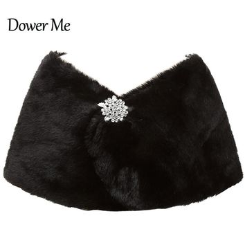 In Stock Wedding Accessory Faux Fur Black White Custom Made Bridal Coat Wedding Bolero Stoles Jacket Shrug Wraps 17012